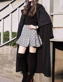 Black Studded Top Chiffon Hem Coat