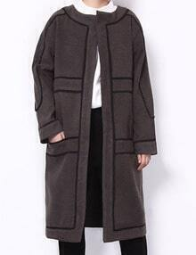 Black Collarless Coat With Contrast Trims