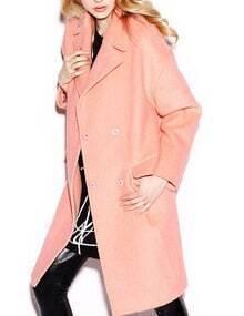 Women Pink Knee Length Cocoon Coat