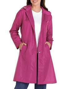 Purple Hooded Waterproof Trench Coat