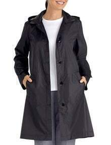 Black Hooded Waterproof Trench Coat