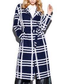 Blue White Contrast Checkered Belted Coat