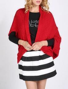 Red Batwing Sleeve Cocoon Cardigan