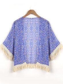 Blue Fringe Hem And Cuffs Kimono