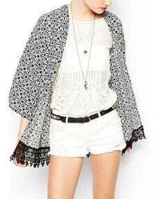 3/4 Sleeve Lace Hem Kimono