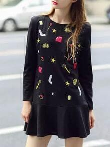 Black Long Sleeve Print Ruffle Dress