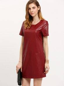Burgundy Short Sleeve PU Leather Dress