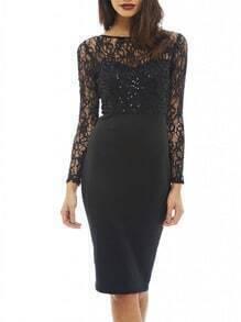 Black Long Sleeve With Lace Sheath Dress