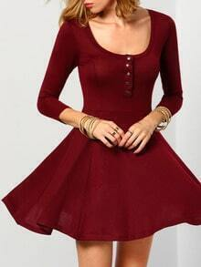 Burgundy Scoop Neck A Line Dress