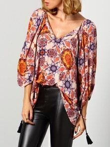 Multicolor Long Sleeve Floral Blouse
