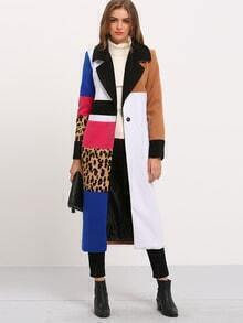 Multicolor Long Sleeve Lapel Leopard Coat