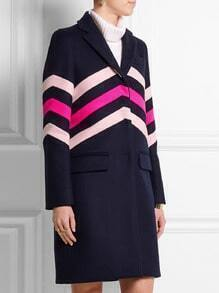Navy Long Sleeve Lapel Striped Coat