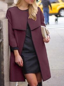 Burgundy Long Sleeve Loose Coat