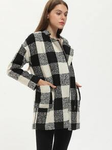 Black White Long Sleeve Plaid Coat