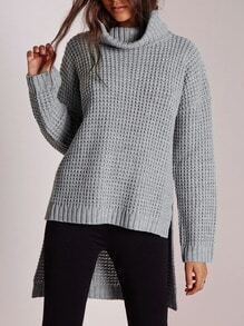 Grey Turtleneck High Low Sweater