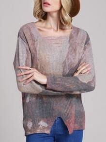 Multicolor Ripped V Neck Print Front Split Sweater