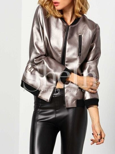 Silver Long Sleeve PU Leather Jacket