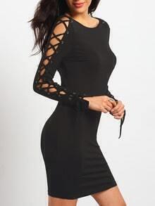 Black Long Sleeve Lace Up Sheath Dress