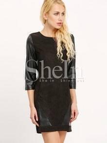 Black Round Neck Contrast PU Leather Dress