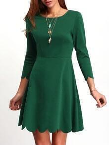 Army Green A Line Ruffle Dress