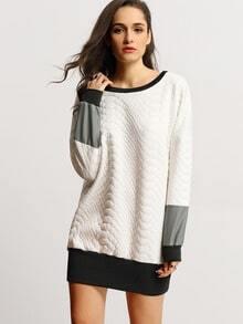 White Black Color Block T-Shirt Dress
