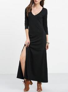 Black Scoop Neck Split Maxi Dress
