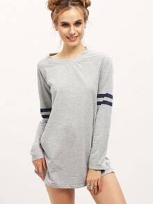 Grey Long Sleeve Round Neck T-Shirt