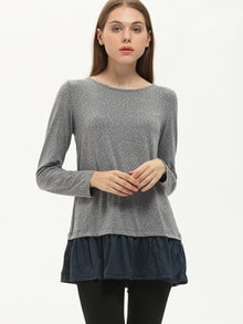 Grey Long Sleeve Color Block Bow Ruffle T-Shirt