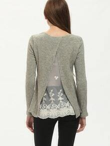 Grey Long Sleeve Contrast Lace T-Shirt
