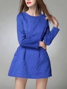 Blue Polka Dot Ruffle Hem Back A Line Dress