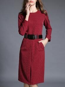 Red Vertical Striped Contrast Belt Dress
