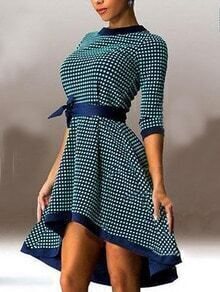 Green Plaid High Low Dress With Contrast Trims