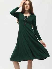 Green Lack Up Frong Midi Dress