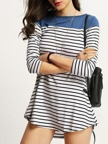 Women Color Block Blue Striped Tshirt Dress