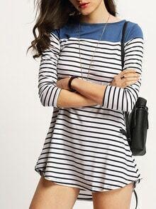 Women Color Block Blue Striped Tshirt Dress