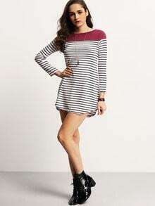 Women Color Block Purple Striped Tshirt Dress