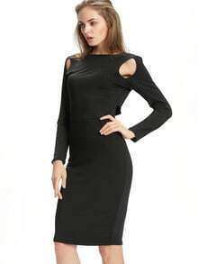 Black Cut Out Front Pencil Dress