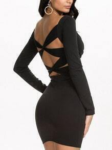Black V Neck Criss Cross Strap Back Dress