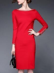 Red Metal Embellished Side Zipper Sleeve Pencil Dress