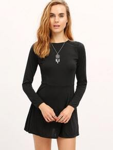 Black Zipper Back Skater Dress