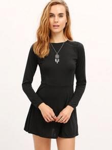 Black Zipper Back Skater Dress