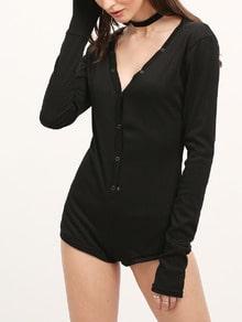 Black V Neck Ribbed Button Bodysuit