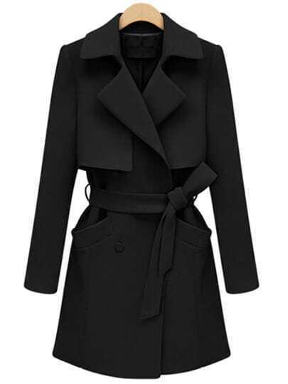 Black Lapel Pocket Wrapped Coat