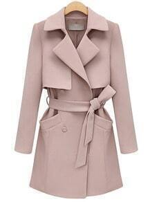Pink Lapel Pocket Wrapped Coat
