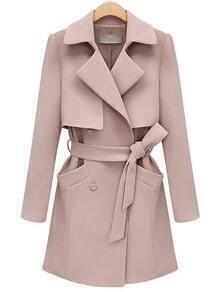 Pink Lapel Pocket Wrapped Coat