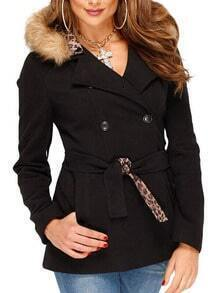 Black Double Breasted Coat With Belt