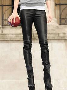 Black PU Leather Slim Leg Pants