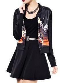 Black Stand Collar Animal Print Jacket