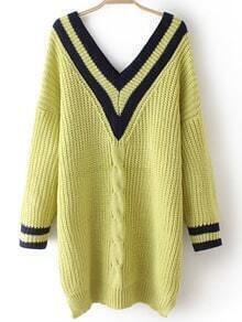 Green V Neck Striped Cable Knit Sweater