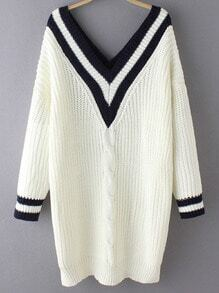 White V Neck Striped Cable Knit Sweater